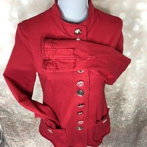 Red Buddha Jeweled Button Down Jacket Sz S